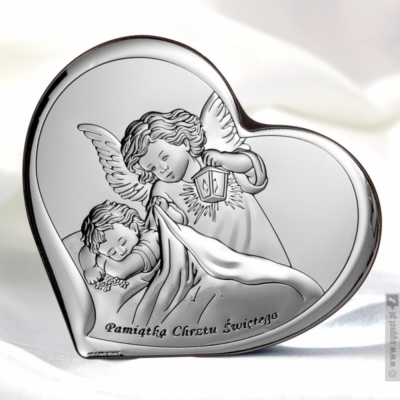 Zdjęcie produktu Anioł Stróż - grawerowany obrazek ze srebra na Chrzest z personalizacją