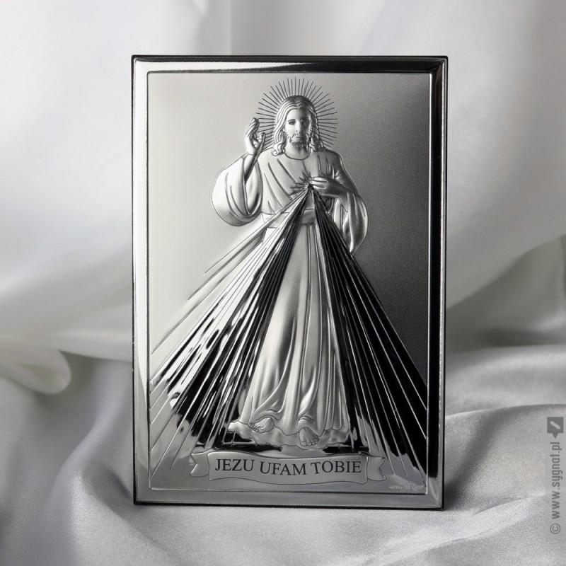 Zdjęcie produktu Jezu Ufam Tobie - grawerowany obrazek ze srebrem na I Komunię Świętą