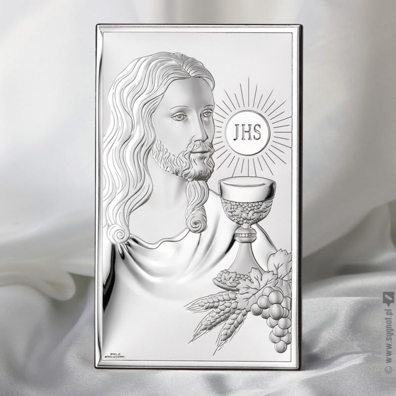 Zdjęcie produktu Jezus - grawerowany obrazek srebrny na pamiątkę Chrztu lub Komunii