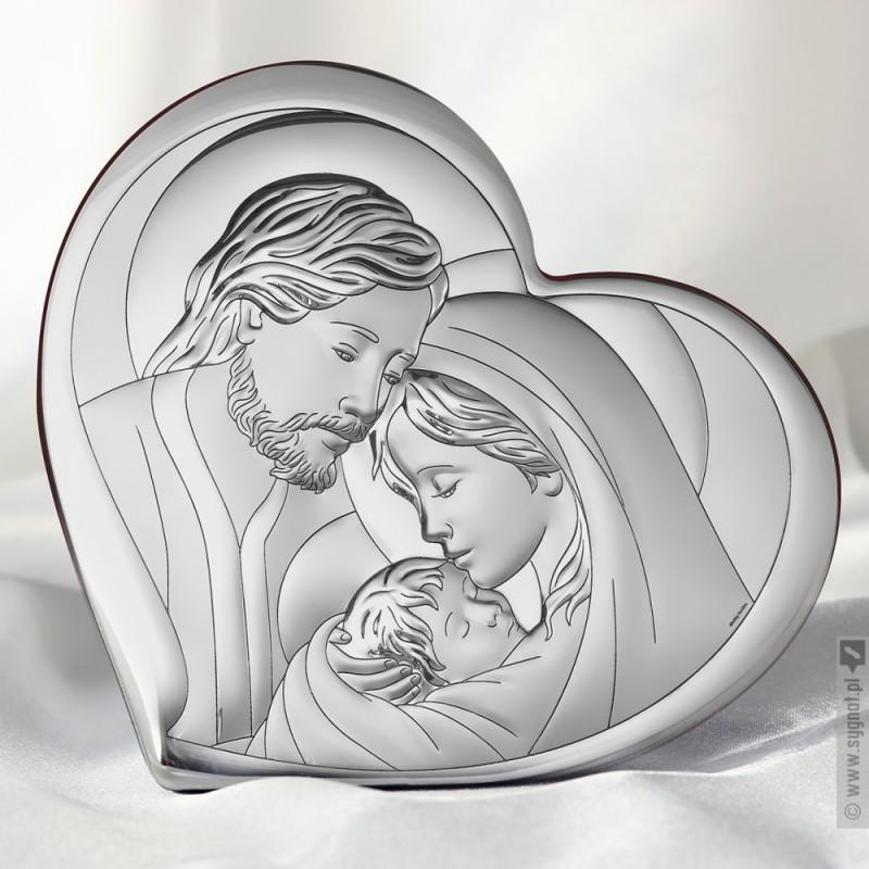 Zdjęcie produktu Św. Rodzina w Sercu - grawerowany obrazek ze srebrem na pamiątkę Chrztu Św.
