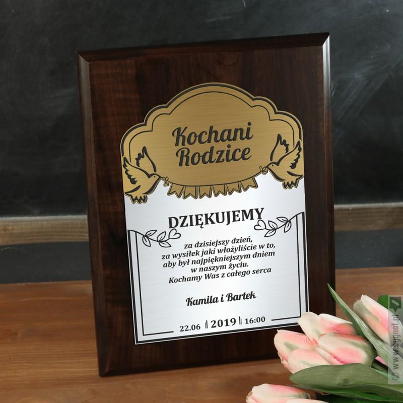 Zdjęcie produktu Dyplom Dla Rodziców - grawerowany dyplom z personalizacją