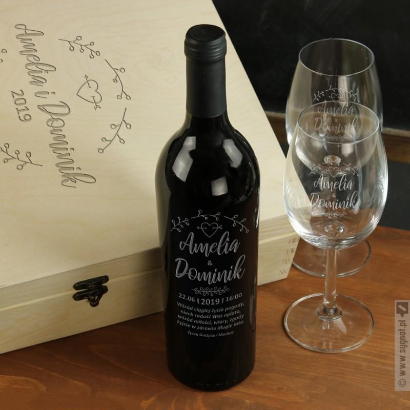 Zdjęcie produktu Ślubny Wianek - grawerowany zestaw z personalizacją dla Młodej Pary