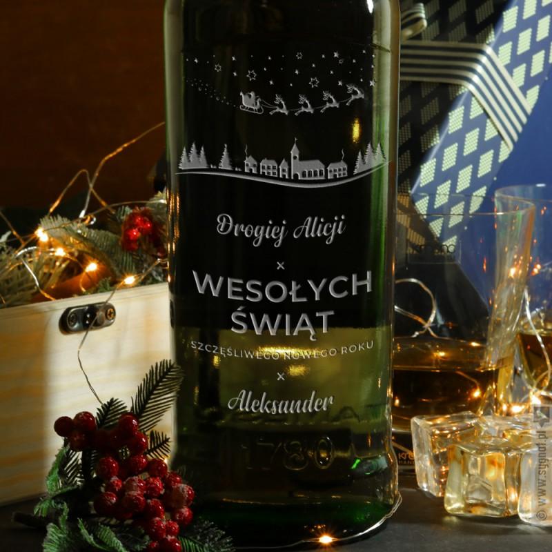 Zdjęcie produktu Święta - grawerowany zestaw whisky Jameson, dwie szklanki i skrzynka na Święta