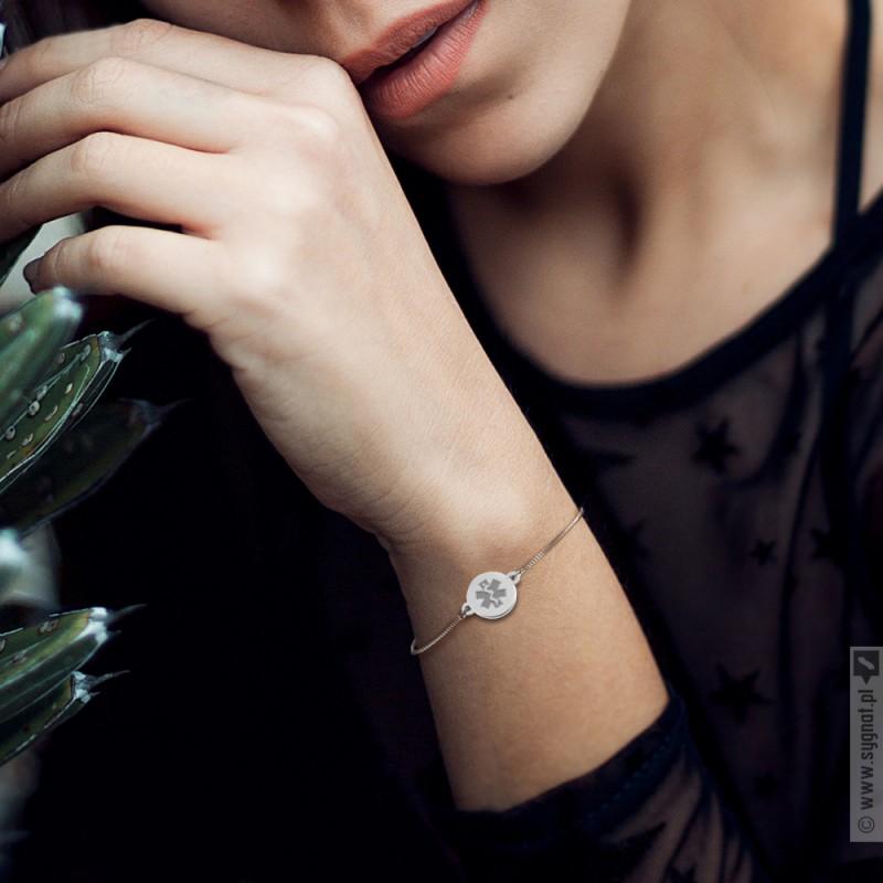 Zdjęcie produktu Eskulap - grawerowana bransoletka ręcznie wykonana ze srebra 925