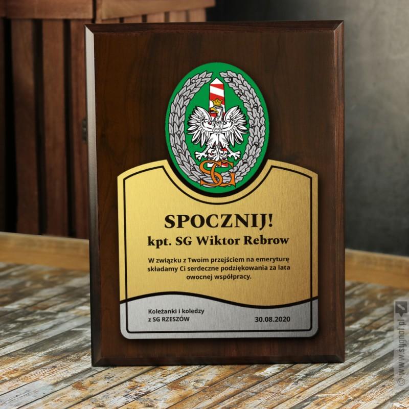 Zdjęcie produktu Dyplom Straży Granicznej - grawerowany dyplom z personalizacjąz okazji przejścia na emeryturę
