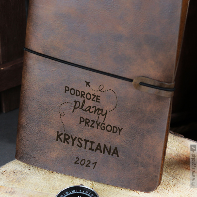 Zdjęcie produktu Podróże Plany Przygody - grawerowany notatnik