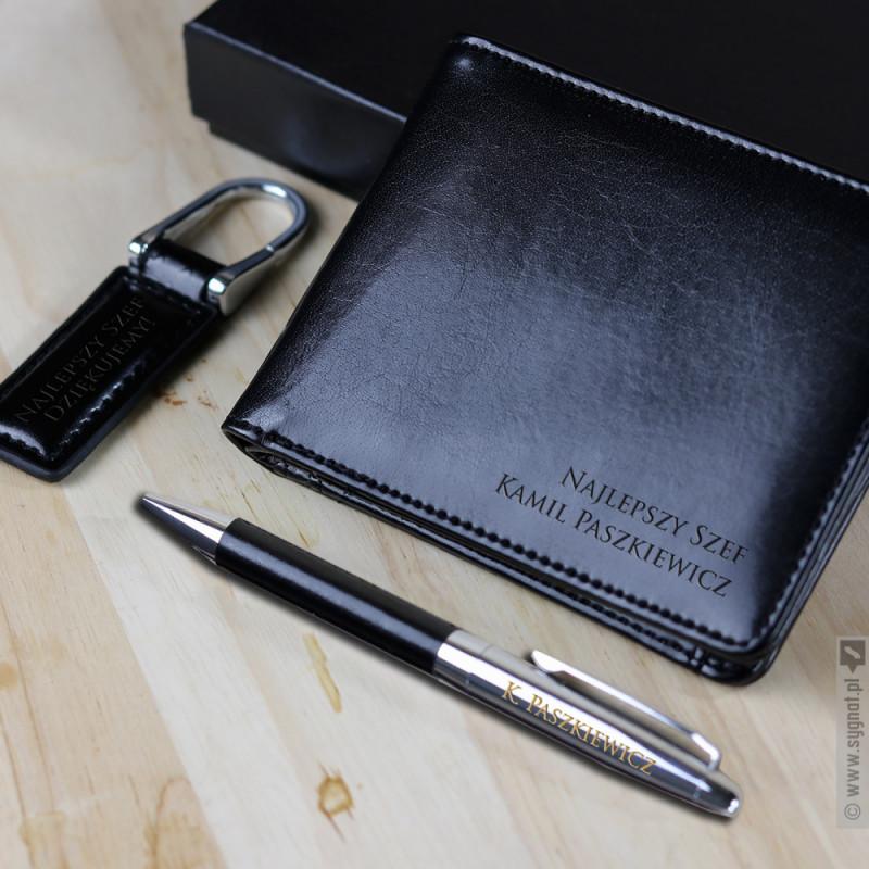 Zdjęcie produktu Grawerowany zestaw upominkowy portfel, długopis, brelok