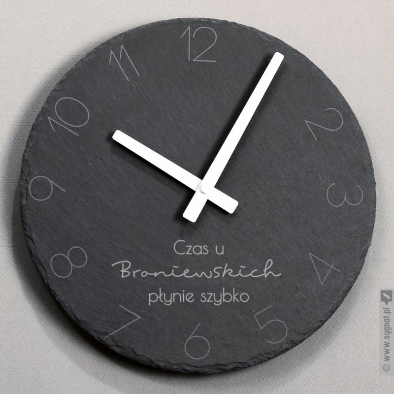Zdjęcie produktu Dobry Czas - kamienny zegar ścienny z wygrawerowaną personalizacją