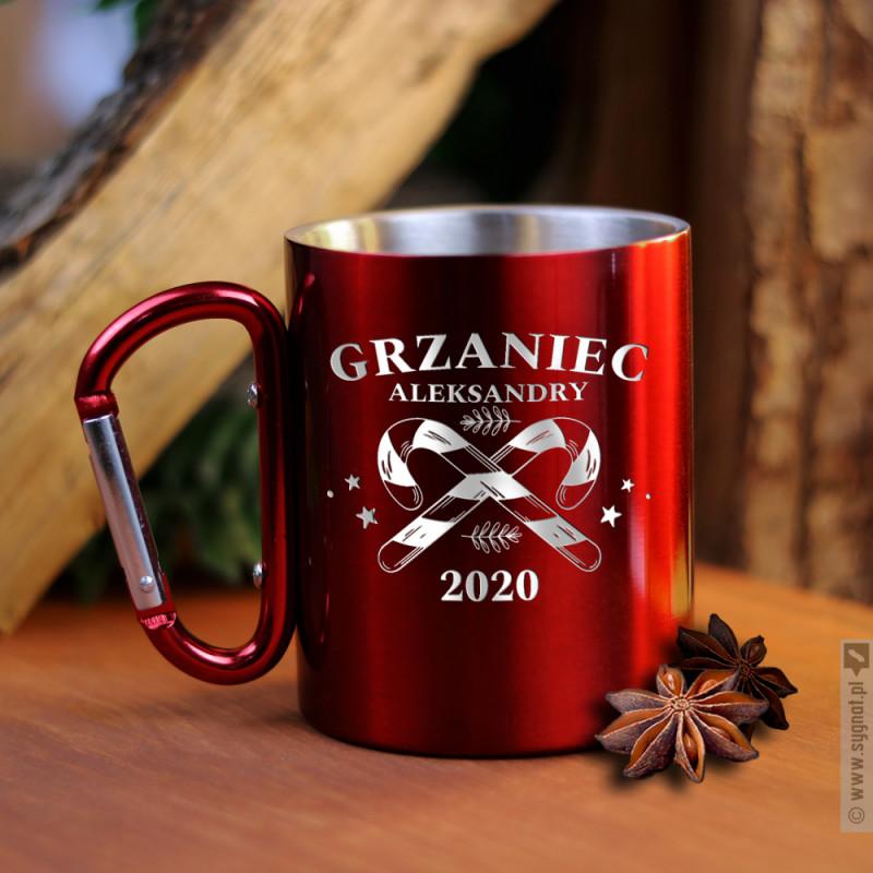 Zdjęcie produktu Grzaniec - grawerowany kubek z karabińczykiem