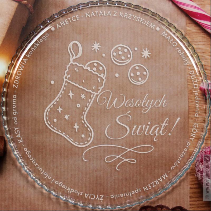 Zdjęcie produktu Świąteczna Patera - personalizowana patera z wygrawerowanymi życzeniami