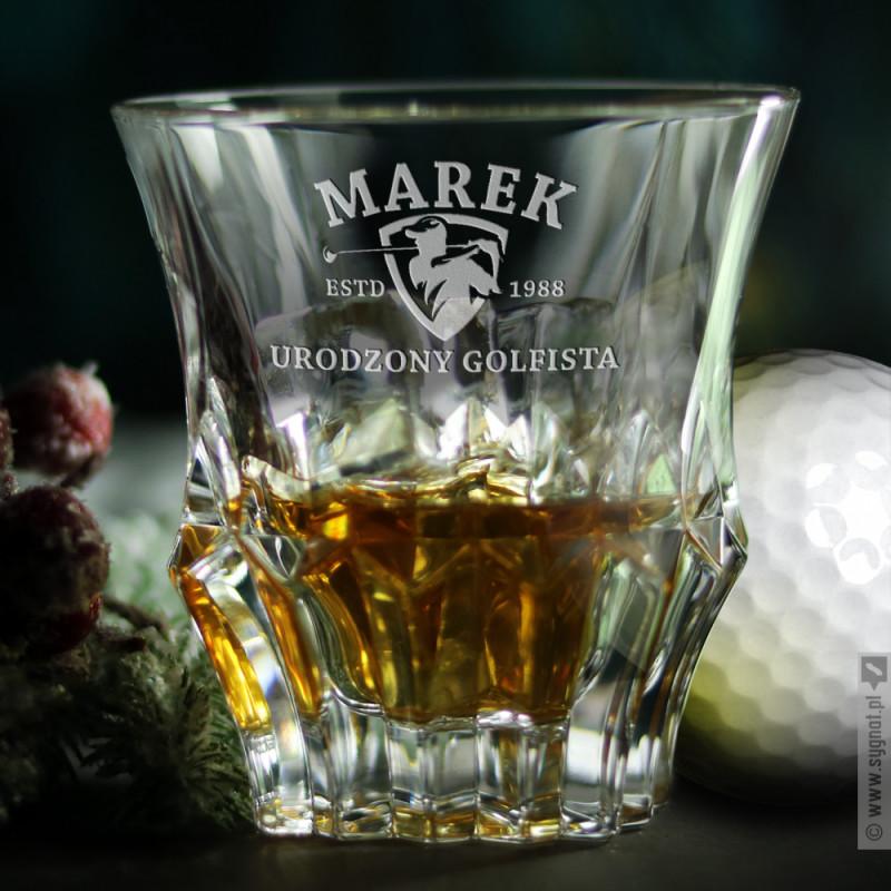 Zdjęcie produktu Urodzony Golfista - grawerowana szklanka do whisky z personalizacją