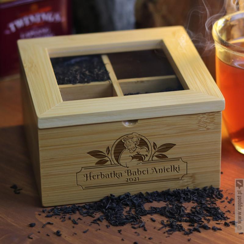 Zdjęcie produktu Herbatka Babci - grawerowane pudełko na herbatę dla Babci
