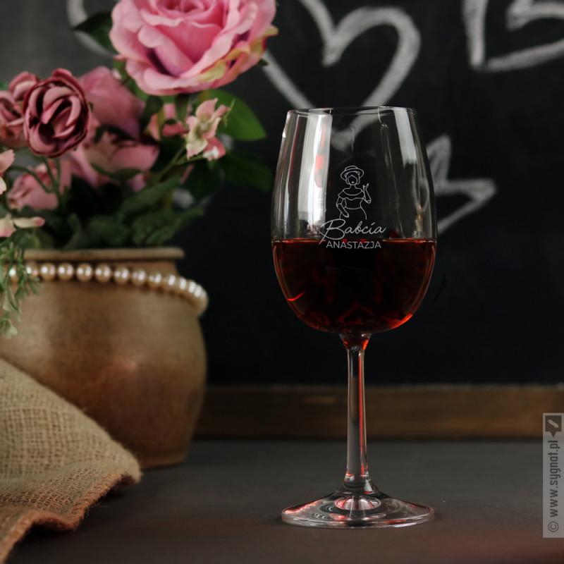 Zdjęcie produktu Dama - grawerowany kieliszek do wina z personalizacją dla Babci