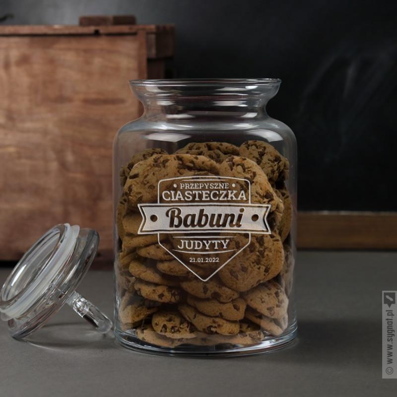 Zdjęcie produktu Przepyszne Ciasteczka Babuni - grawerowany słoik na żywność z personalizacją