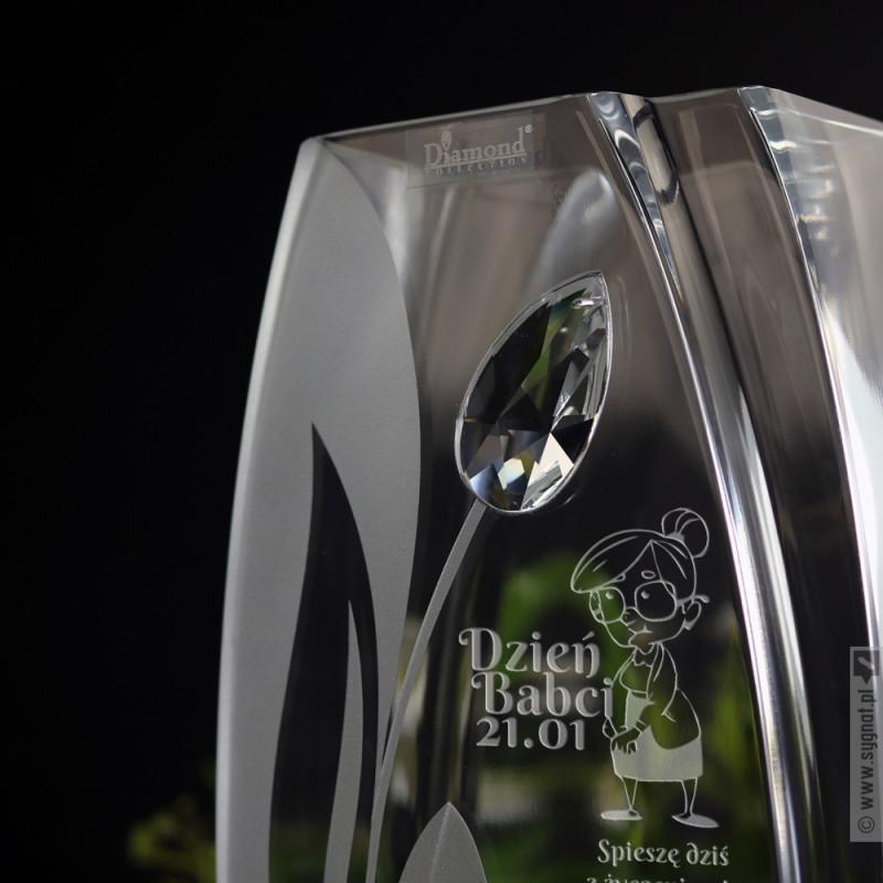 Zdjęcie produktu Babcia - grawerowany wazon z kryształem Swarovskiego z personalizacją na Dzień Babci