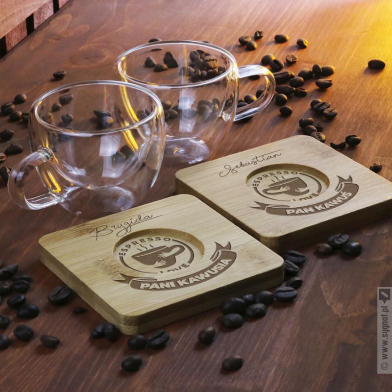 Zdjęcie produktu Espresso Lovers - grawerowany zestaw do espresso z personalizacją dla zakochanych