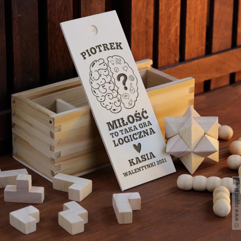 Zdjęcie produktu Miłosna Układanka - grawerowany zestaw trzech układanek logicznych z personalizacją
