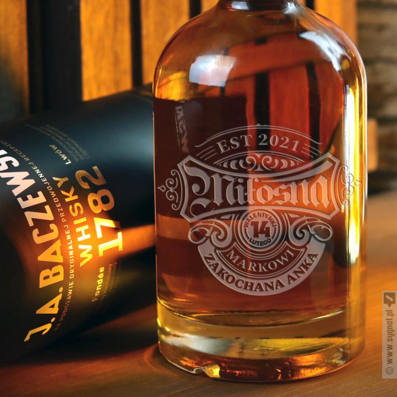 Zdjęcie produktu Miłosna - grawerowana whisky J.A. Baczewski z personalizacją na Walentynki