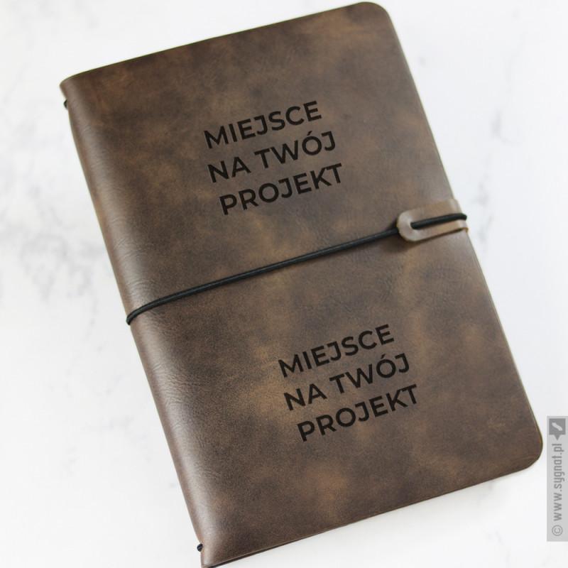 Zdjęcie produktu Brązowy notatnik z ekoskóry z własną personalizacją