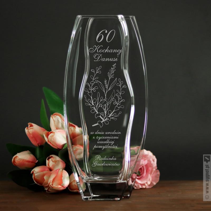 Zdjęcie produktu Grawerowany wazon z personalizacją z okazji urodzin